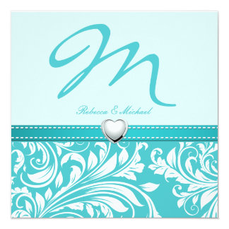 Blank Elegant Teal Monogram with Platinum Heart Personalized Invitations