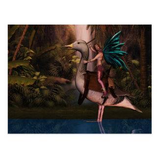 Blank Fairy on a Duck Card, Fantasy Postcard