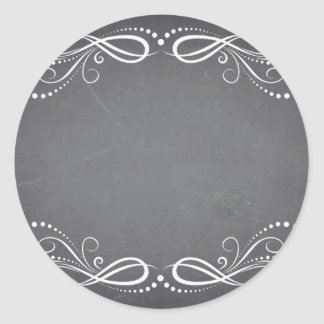 Blank Faux Chalkboard Floral Swirl Customize Text Classic Round Sticker