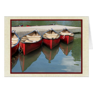 Blank Greeting Card/Note Card, Three Red Canoes Card