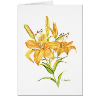 Blank greeting card. Tigerlily watercolor. Card