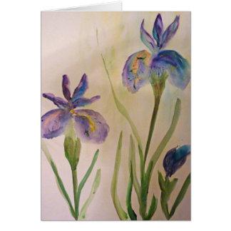 Blank greeting card watercolor of 2 purple irises