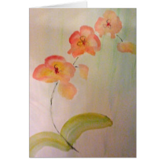 Blank greeting card watercolor of peach orchid