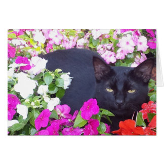 Blank Greeting Card with Cat in Flowers