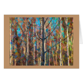 Blank Greeting Card with Colored Poplar Trees