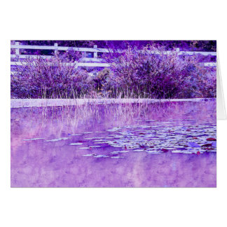 Blank Greeting Card with Purple Pond Design