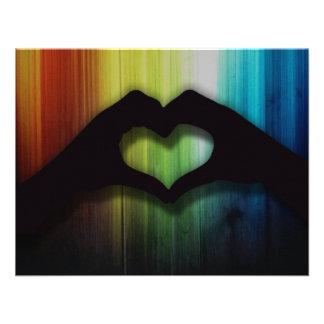 Blank Hand Hearts With Rainbow Lighted Wood Custom Invitation