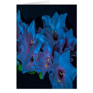 Blank inside Electric Blue Flowers Greeting Card
