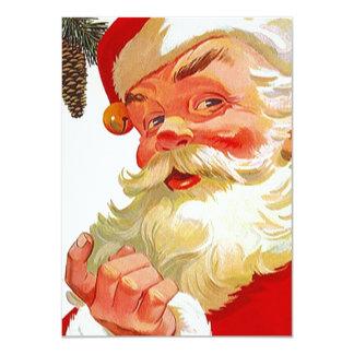 Blank Invitations Vintage Santa Beckoning Join Us