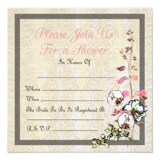 "Blank Japanese Tea Garden Wedding or Shower - 5.25"" Square Invitation Card"