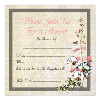 Blank Japanese Tea Garden Wedding or Shower - 5.25x5.25 Square Paper Invitation Card
