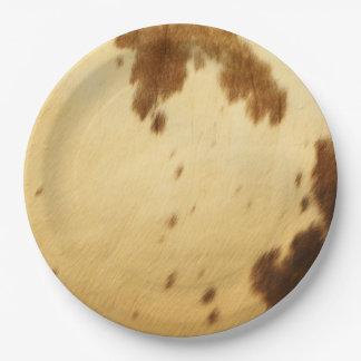 Blank Long Horn Cowhide Animal Fur Print Party 9 Inch Paper Plate