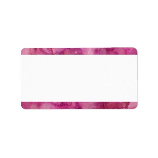 Blank Magenta Watercolor Label