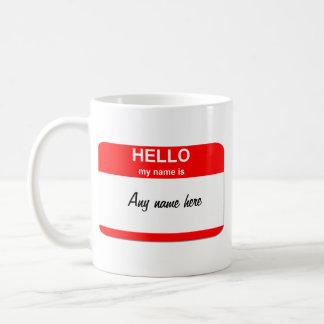 Blank name tag template coffee mug