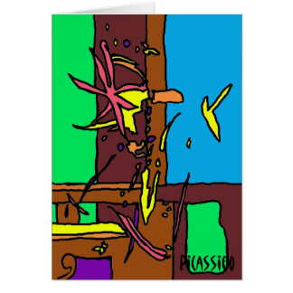 Blank Note Card bright colorful graphic art