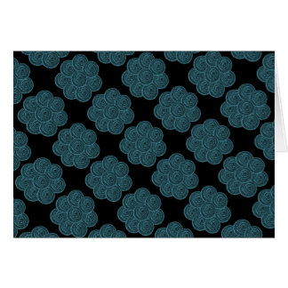 Blank Note Card (Classic Floral - Teal/Black)