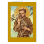 blank note card St Francis & cat