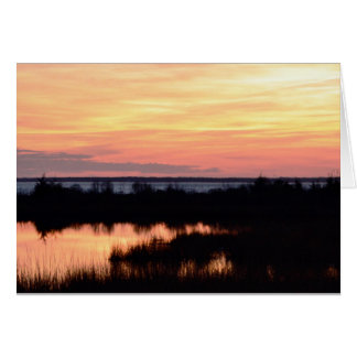 Blank note card sunset vibrant orange colors