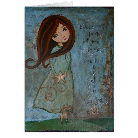 Blank Notecard Folk Art Girl