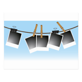 Blank Photos Pinned To A Clothesline Postcard