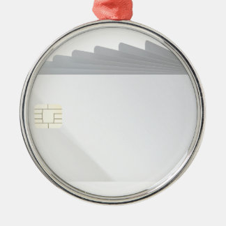 Blank plastic cards with chip metal ornament