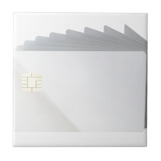 Blank plastic cards with chip tile