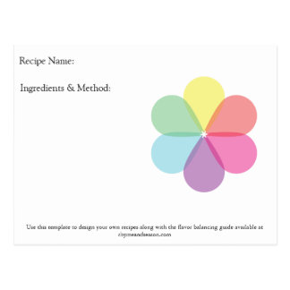 Blank Recipe Design Note cards by Rhyme & Season Postcard
