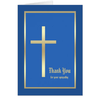 Blank Religious Sympathy Thank You Note Card, Blue Card