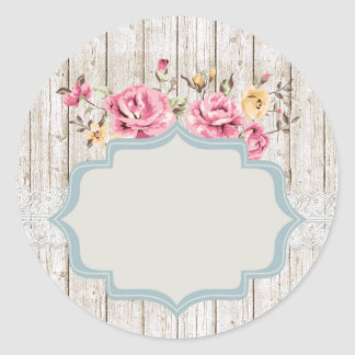 Blank Rustic Shabby Roses - Customizable Packaging Classic Round Sticker
