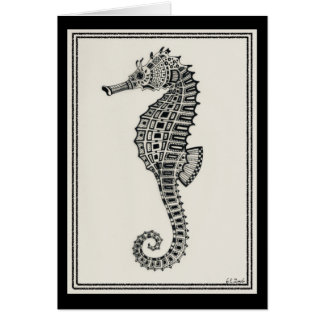 """Blank """"Seahorse"""" two-toned 5X7 card"""
