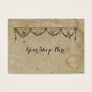 Blank Season & Cherub Antique Stained 1880's Paper Business Card
