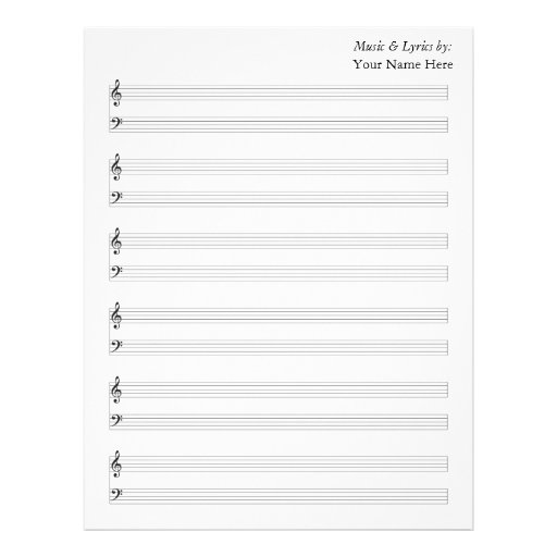 Blank Sheet Music  Piano Staves Letterhead Template