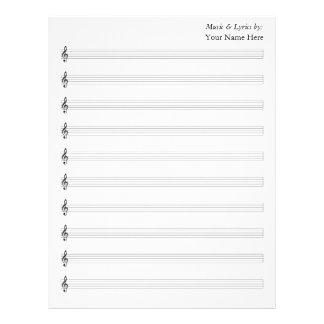 Blank Sheet Music  Treble 10 Staves Letterhead Design