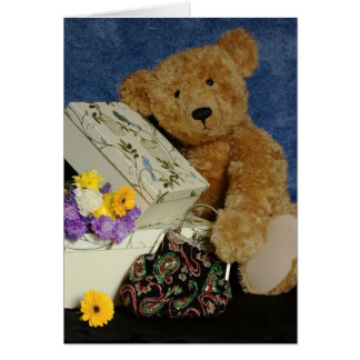 Blank Teddy Bear Note Card with real teddy bear