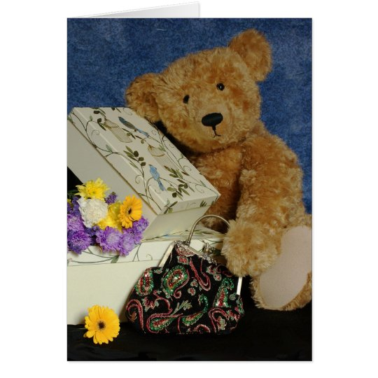 Blank Teddy Bear Note Card with real teddy bear