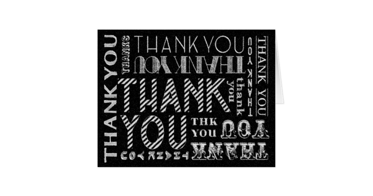 Blank Unisex Thank You Chalk Typography Card