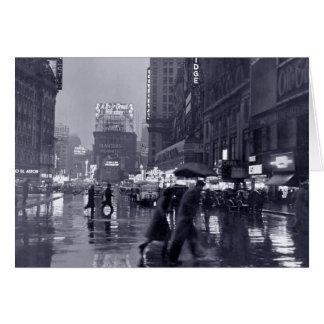 Blank: vintage New York on a rainy night Card