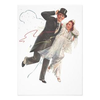 Blank Vintage Wedding Bliss Groom Bride Invitation