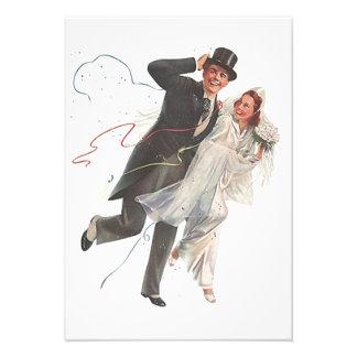 Blank Vintage Wedding Bliss Groom Bride RSVP Card Invite