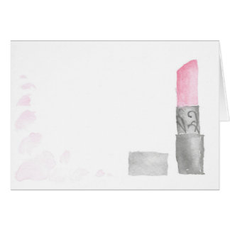 Blank Watercolor Lipstick Note Card