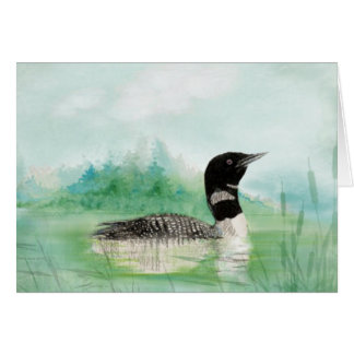Blank Watercolor Loon Bird Nature Art Card