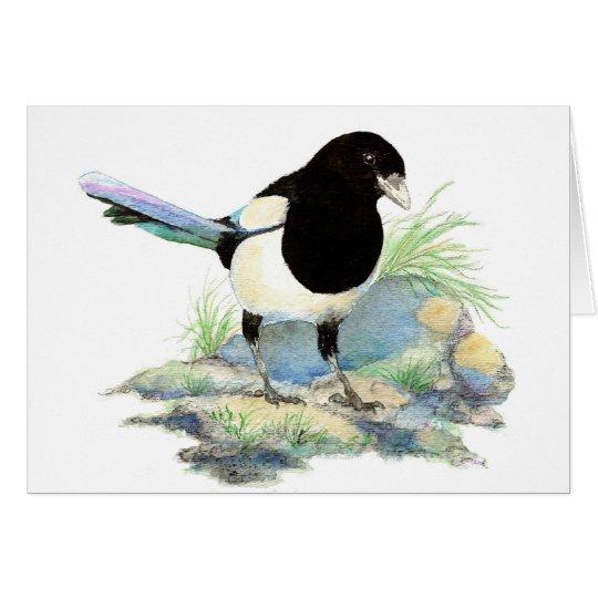 Blank  Watercolor Magpie Garden Bird Card