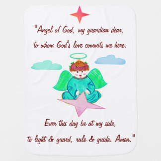 Blanket : Baby blanket with guardian angel design