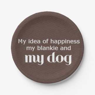 Blankie and Dog Love Text 7 Inch Paper Plate