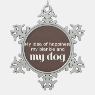 Blankie and Dog Love Text Pewter Snowflake Ornament