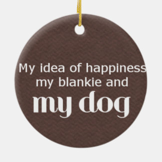Blankie and Dog Love Text Round Ceramic Ornament