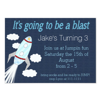 Blast Off Birthday Party Card