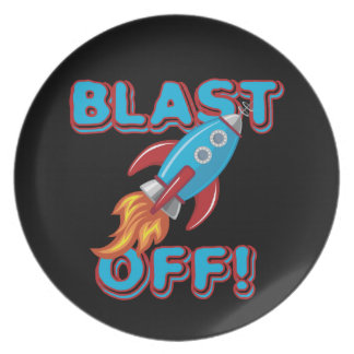 Blast Off Rocket Ship Dinner Plate