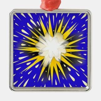 Blast Silver-Colored Square Ornament