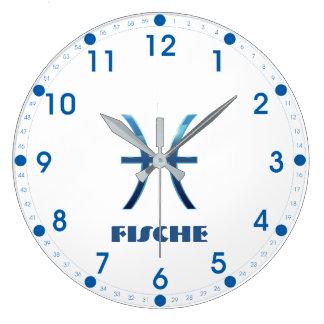 Blau Fische Pisces Zodiac Large Clock